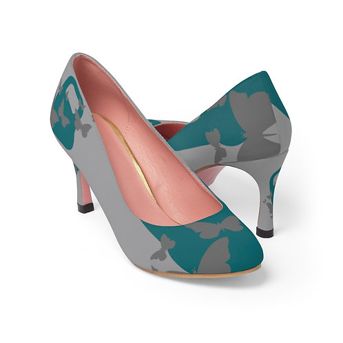 Kettlebell aquamarine butterfly Women's High Heels - grey