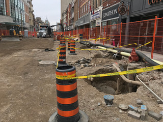 Temporary watermain connections & downtown construction in full swing