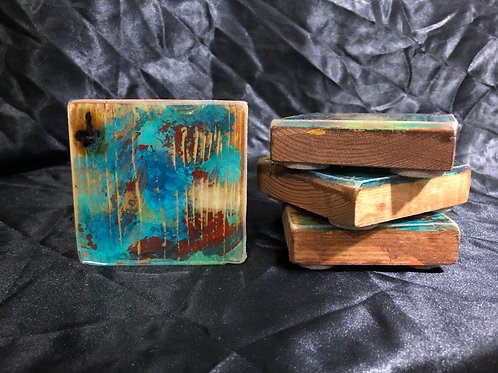 Upcycled Wood & Resin Coaster Set