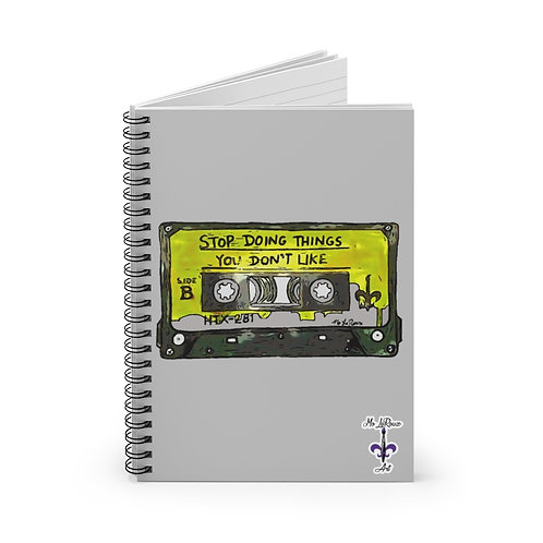Yellow S.D.T.Y.D.L. Cassette Spiral Notebook-Ruled Line