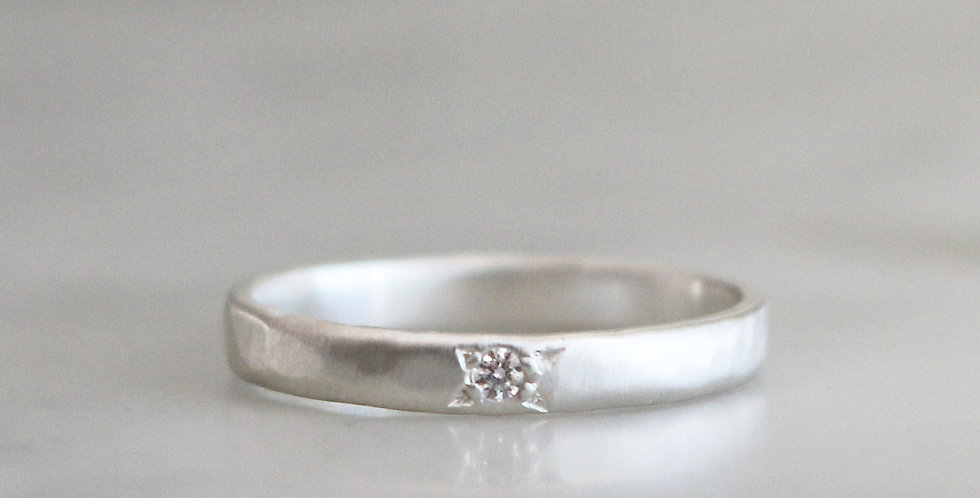 STAR SET TINY DIAMOND SOLITAIRE IN SILVER