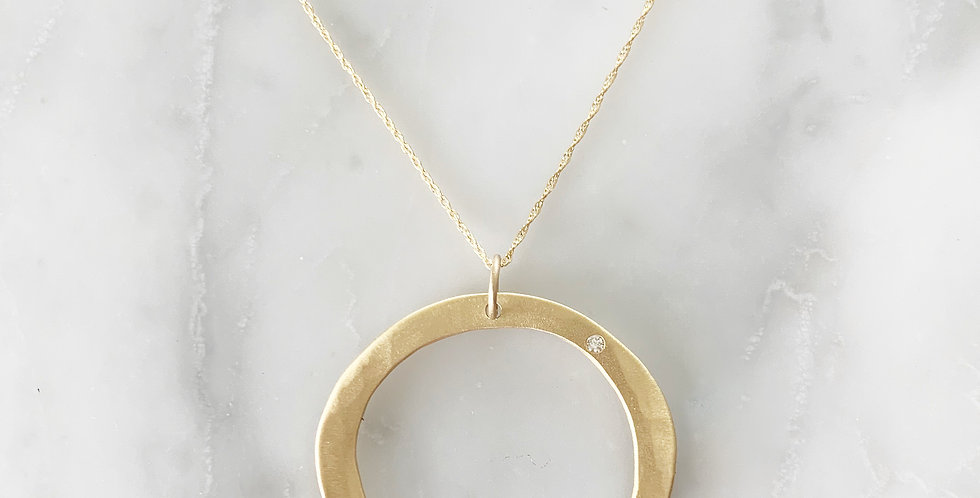 RUSTIC HAND-FORGED PENDANT WITH DIAMOND