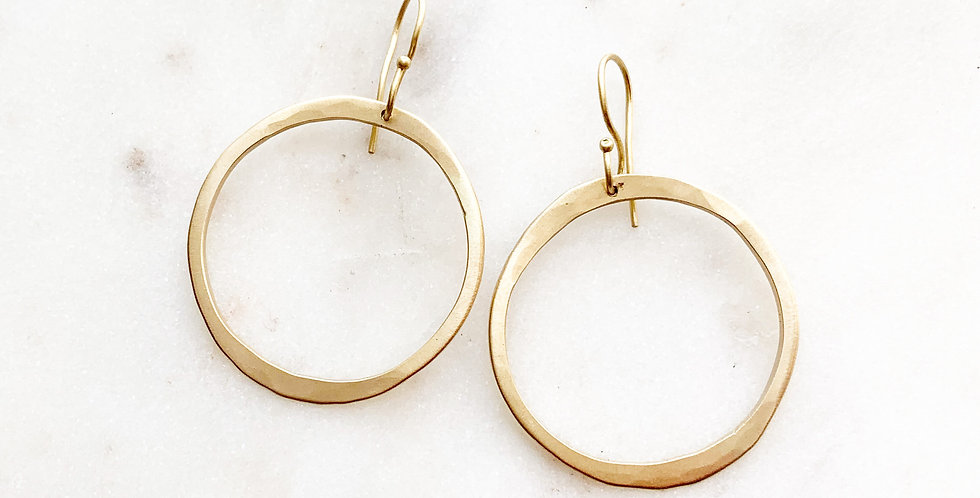 RUSTIC HAND-FORGED HOOPS IN 18K GOLD