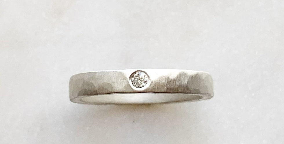 HAND-FORGED RUSTIC RING IN DIAMOND (STACKABLE)