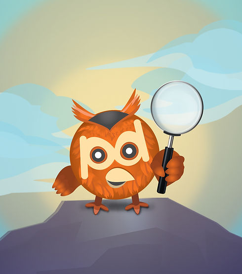 Pixy with magnifying glass with bg (w-72