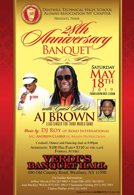 28th Anniversary  Banquet  on May 18th at VerdI's Banquet Hall