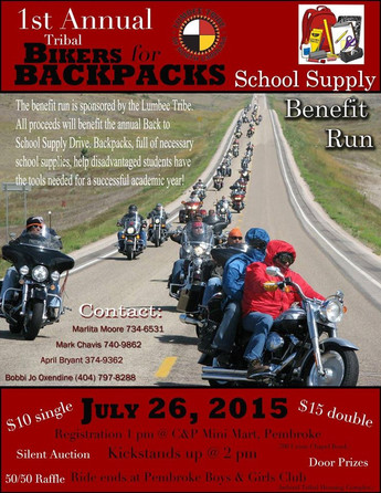 1st Annual Tribal Bikers for Backpacks-July 26, 2015