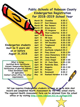 Kindergarten Registration 2018-2019