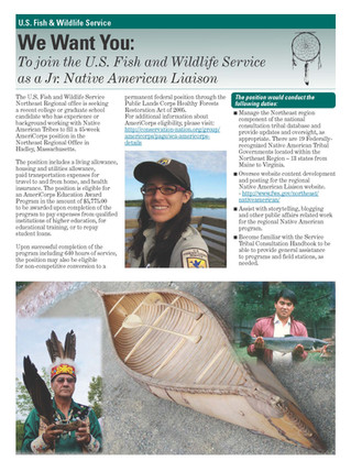 Position Available:  Junior Native American Liaison