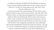 Robeson County Water Department Notice