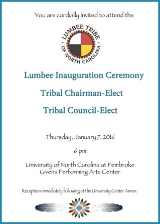 Lumbee Inauguration Ceremony for Tribal Chairman-Elect and Tribal Council-Elect to be held at GPAC o