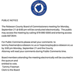 Robeson County Board of Commissioners Meeting-September 21, 2020