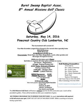 Burnt Swamp Baptist Assoc. 8th Annual Missions Golf Classic