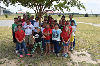 Tribal Councilman Bobby Oxendine with a group of Prospect School