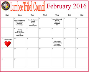 Lumbee Tribal Council Feb. Calendar
