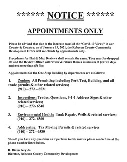 NOTICE:  Robeson County Community Development Office