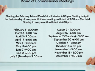 2021 Commissioners Meeting Calendar