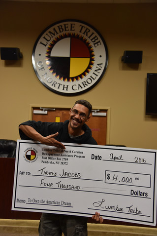 Lumber Bridge man gets down payment assistance Timmy Jacobs receives $4,000 from the Lumbee Tribe's