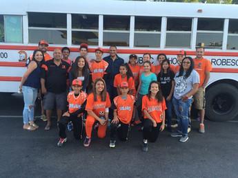 Tribal Chairman Harvey Godwin visits with Magnolia School's baseball and softball teams