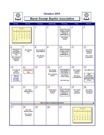 Burnt Swamp Baptist Association Calendar 2019-2020