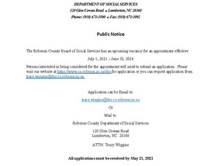 Public Notice:  Robeson County Board of Social Services