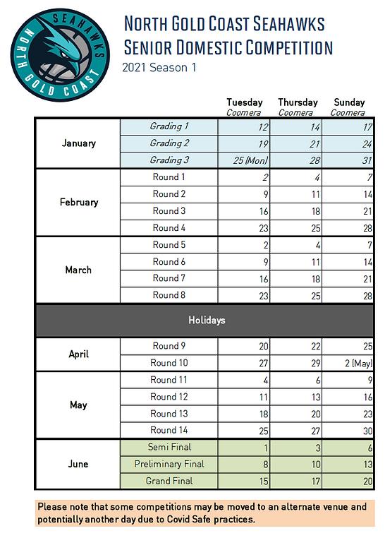 2021 SEASON 1 - Senior Domestic Calendar