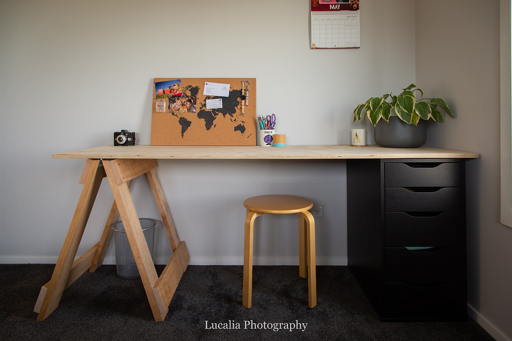 handmade desk in family container home, Wairarapa