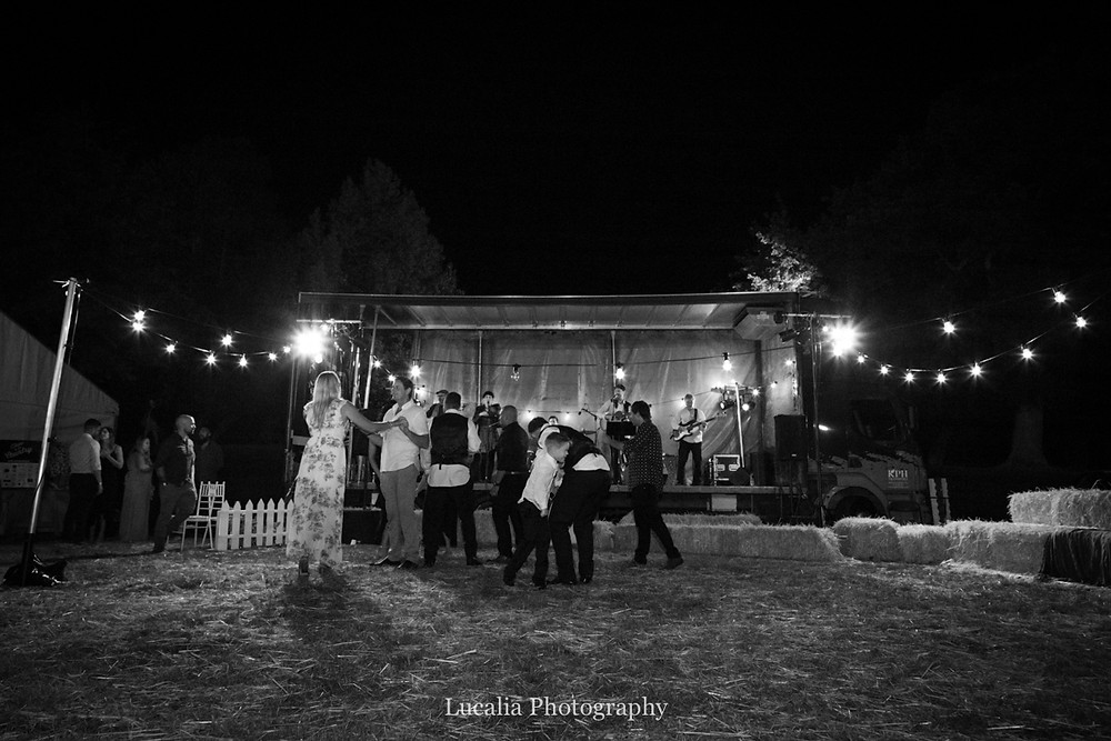 dancing to folk band Winsome Lost, outside at night