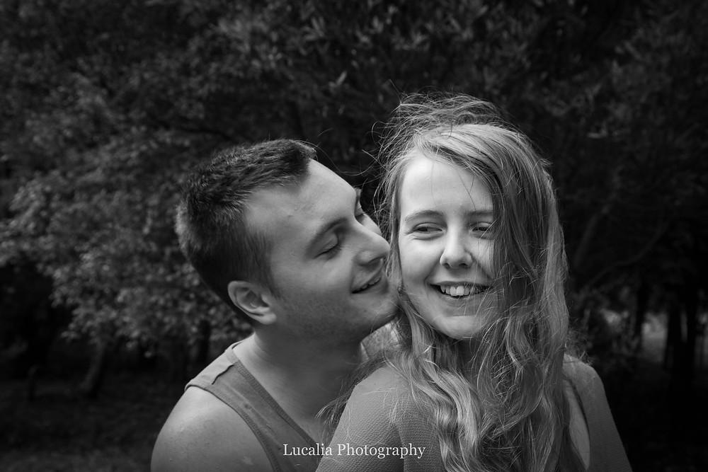 engaged couple smiling, Featherston Wairarapa