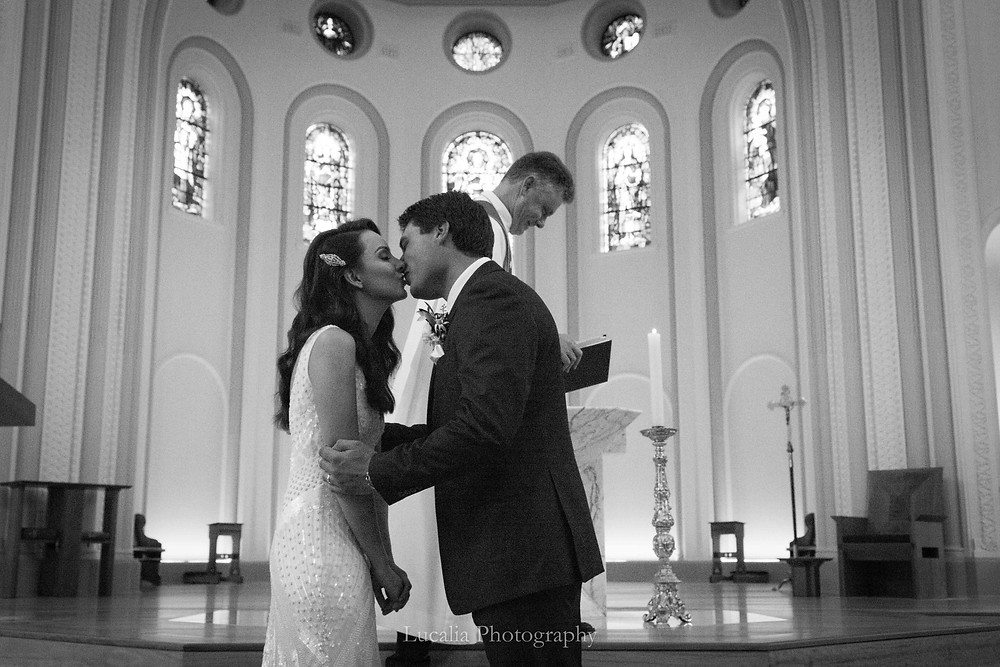 bride and groom kissing after being married in NSW Australia