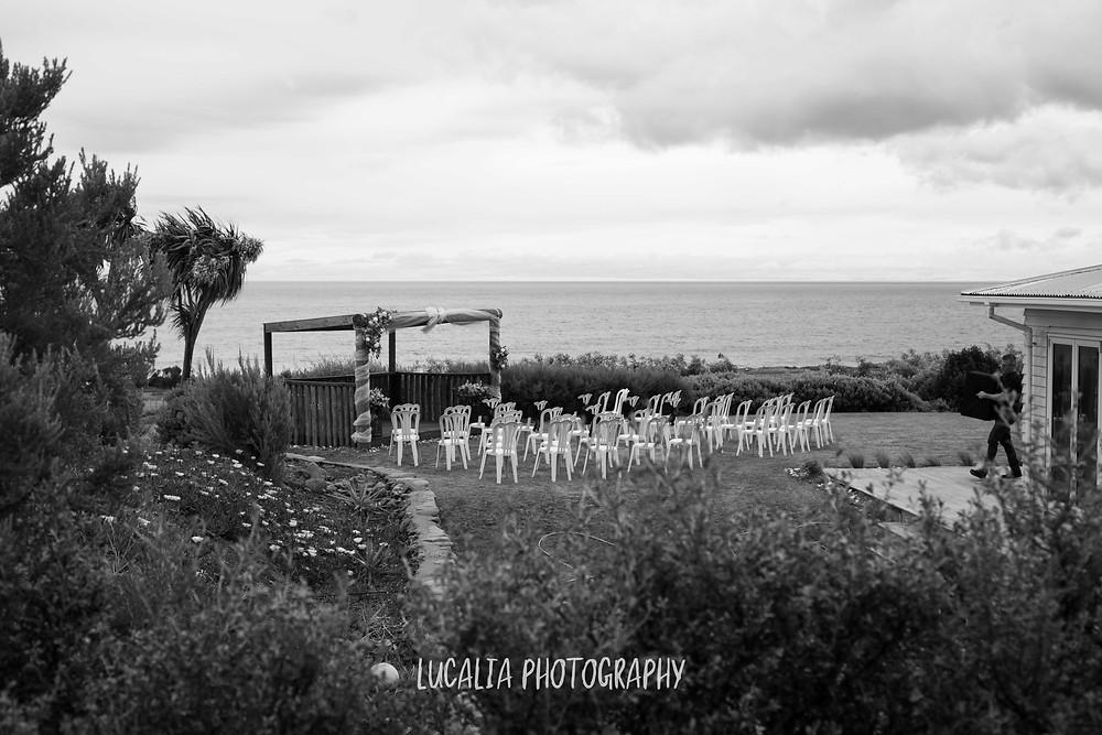 Ocean view wedding ceremony, Waimeha Camping Village, Ngawi, Wairarapa wedding photographer