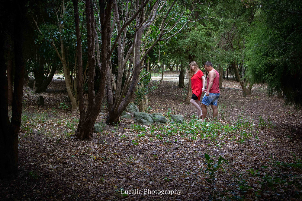 engaged couple walking in a forest holding hands, Featherston Wairarapa