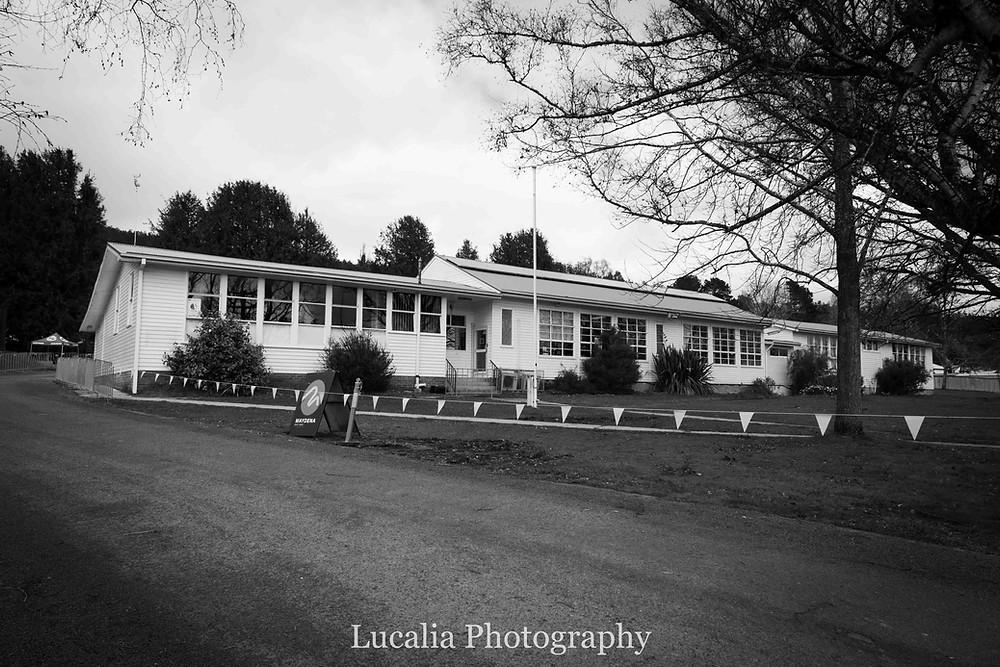 Former Maydena Primary School buildings now house the Maydena Bike Park