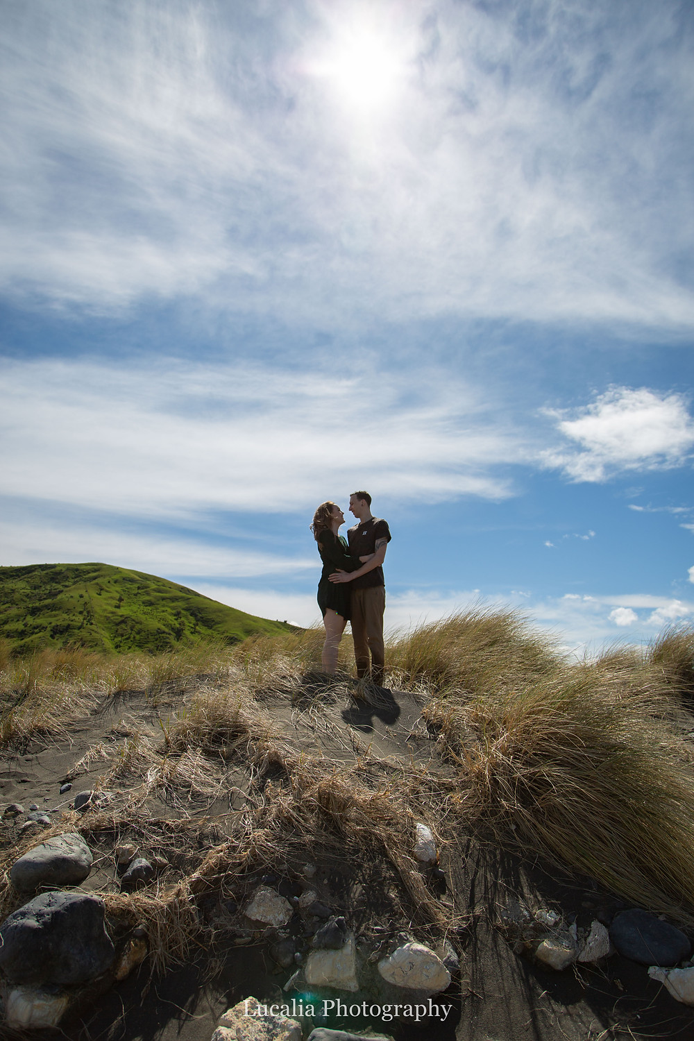 engaged couple looking into each others eyes, Wairarapa wedding photographer