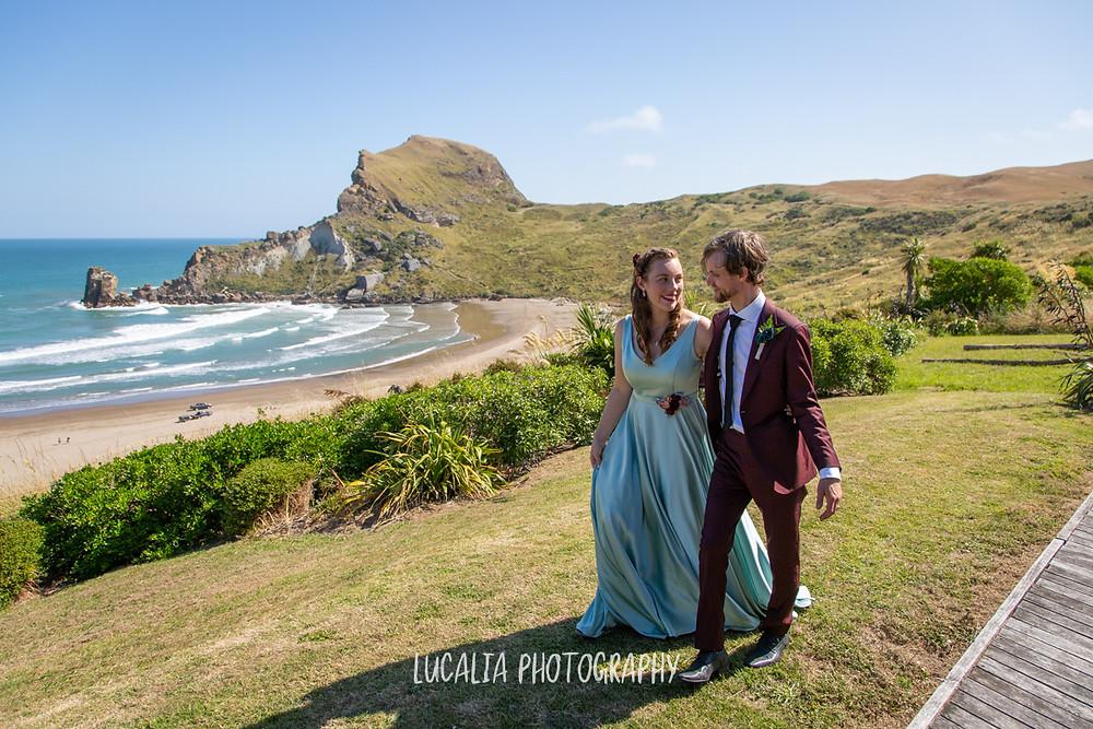 Castlepoint view with walking wedding couple, Wairarapa wedding, Lucalia Photography
