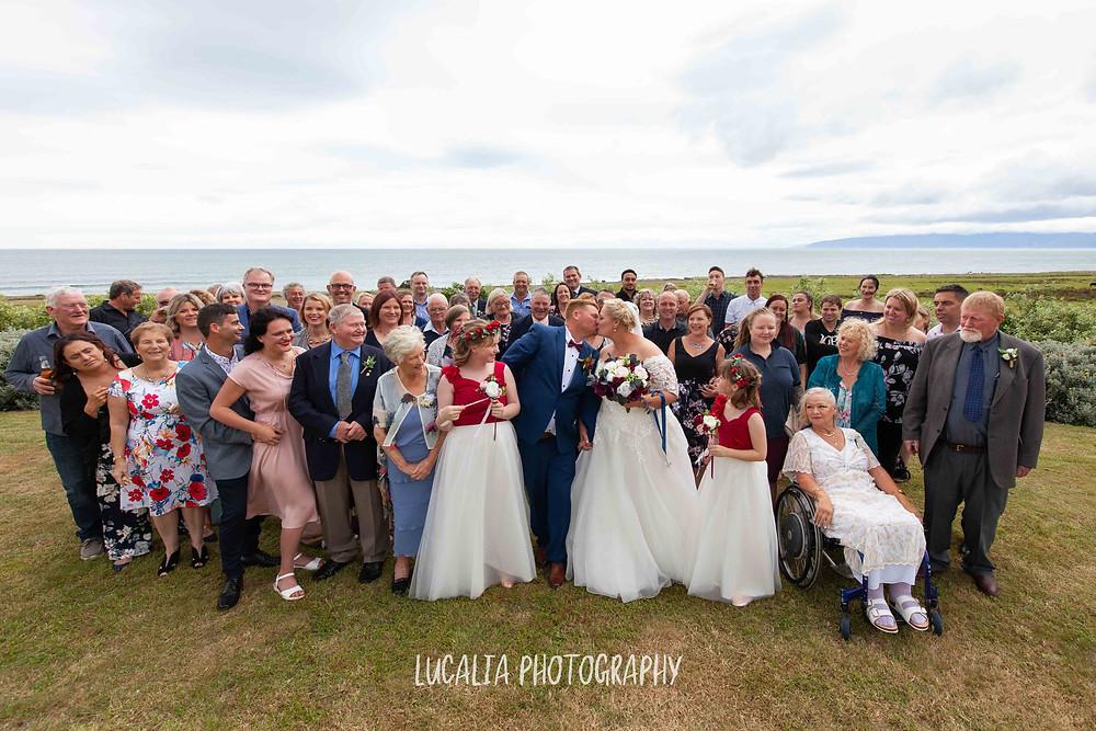 all wedding guests photo at Waimeha Camping Village wedding venue, Ngawi, Wairarapa wedding