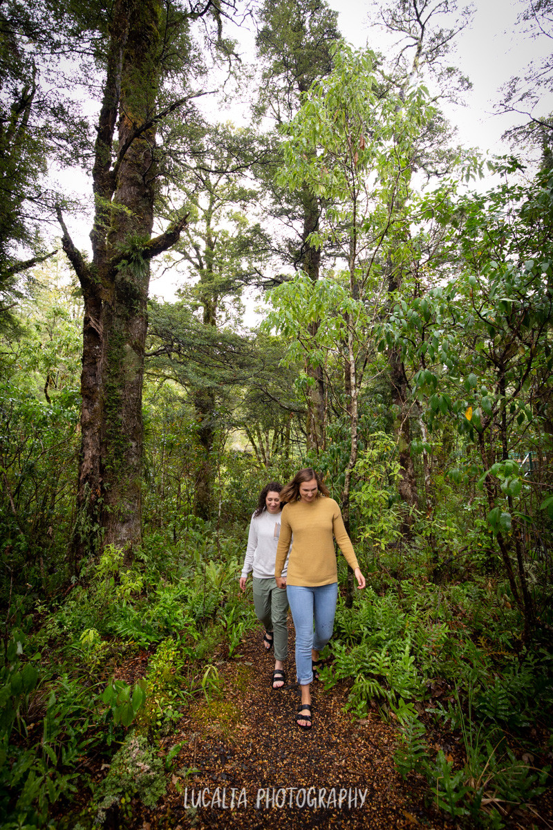 soon to be married couple walking out of the forest, Mt Holdsworth Wairarapa photographer