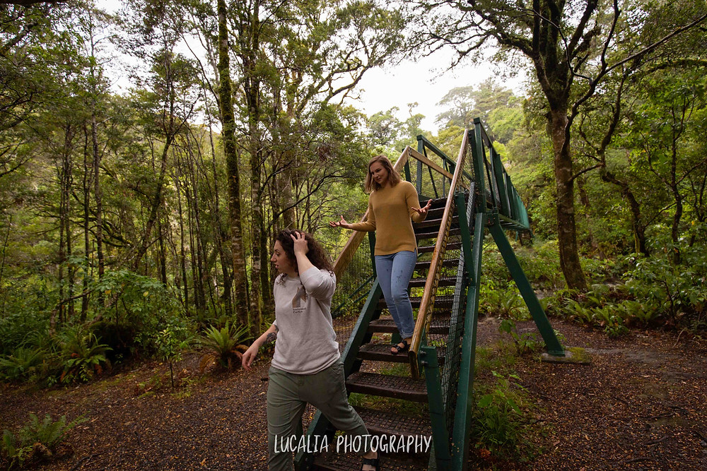 engaged couple walking down bridge stairs talking with hands, Mt Holdsworth Wairarapa photographer