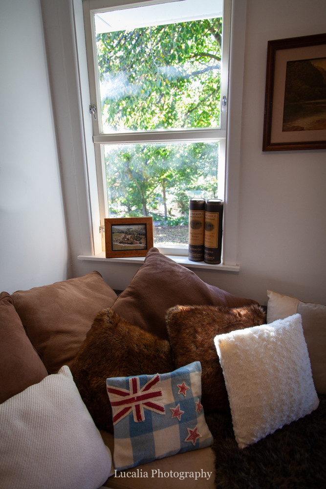 NZ cushions and whiskey, High Peaks Farm Stay, Mangamahu, Manawatu-Wanganui, New Zealand