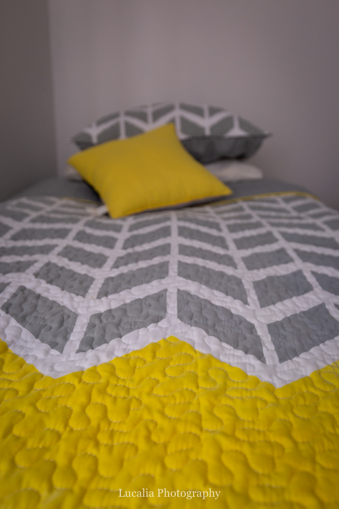 yellow geometric bed linen at High Peaks Farm Stay, Mangamahu, Manawatu-Wanganui, New Zealand