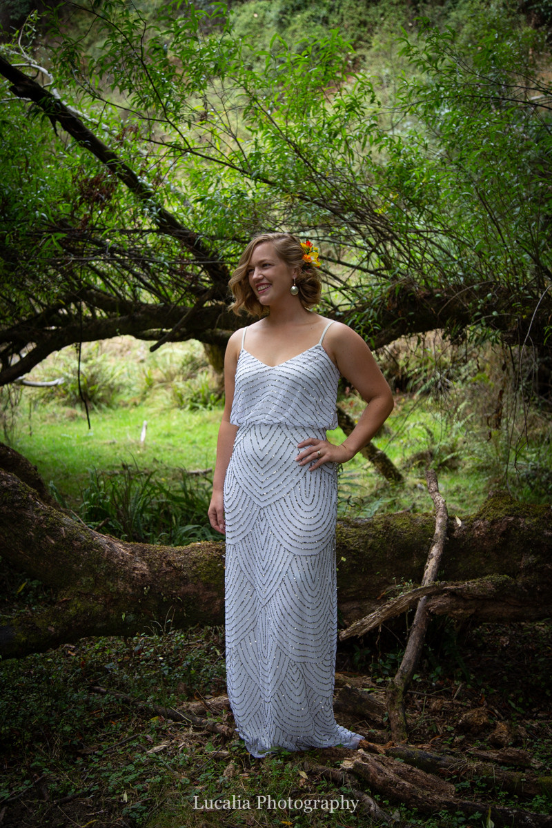 bride full length in a forest, Wairarapa wedding photographers