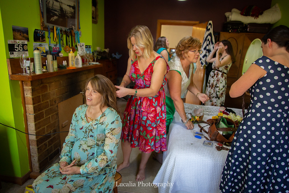 colourful wedding guests getting ready, Martinborough, Wairarapa wedding photographers