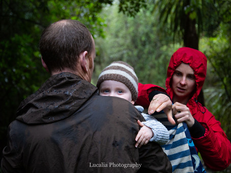 Wairarapa family photography: rainy Carter Scenic Reserve with the Williams family