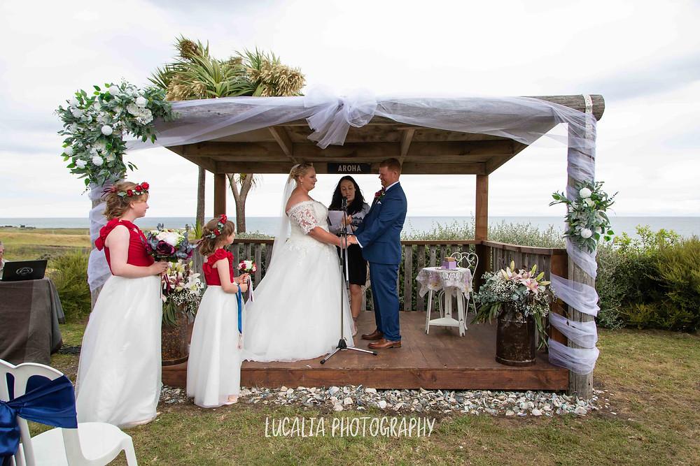 wedding ceremony with ocean view, Emma Ayling Wairarapa wedding celebrant, Waimeha Camping Village, Ngawi, Wairarapa wedding