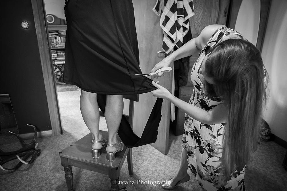 Wairarapa wedding guest has dress shortened by another guest, Wairarapa wedding photographers