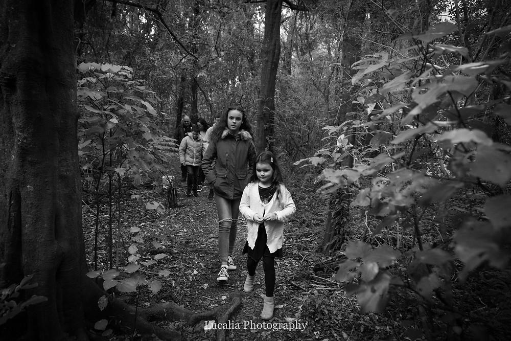 family walking through the forest, Fensham Reserve, Wairarapa family photographer