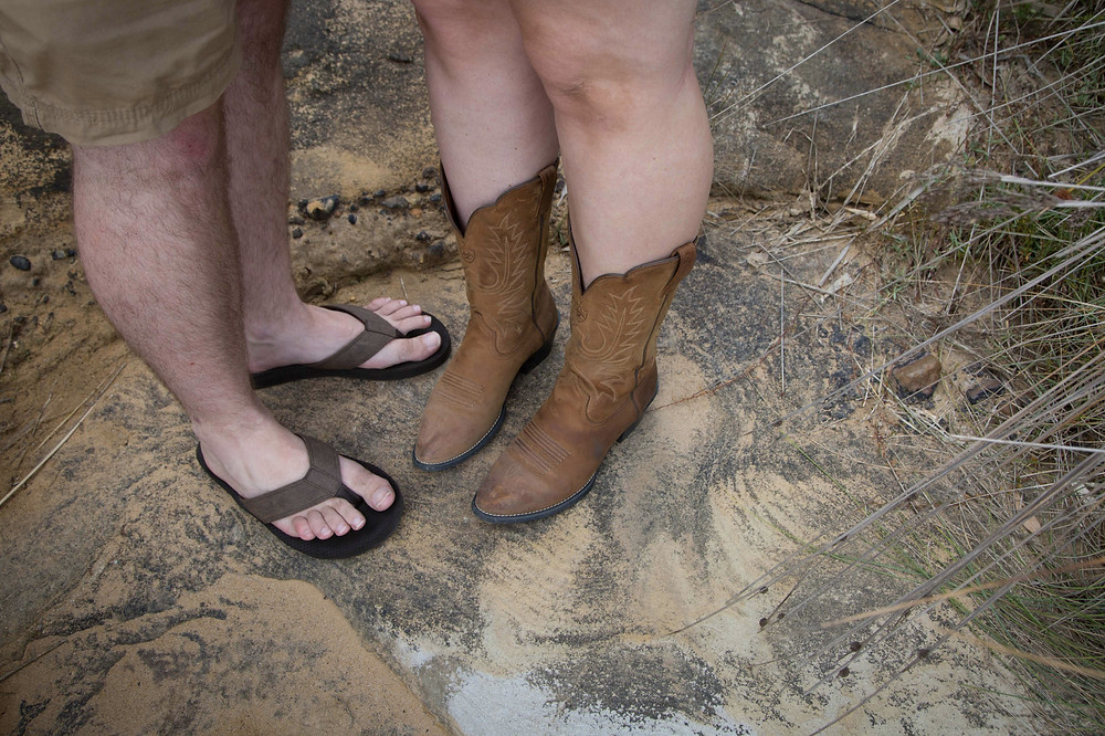 groom wearing jandles bride wearing cowboy boots, Wairarapa wedding photographer