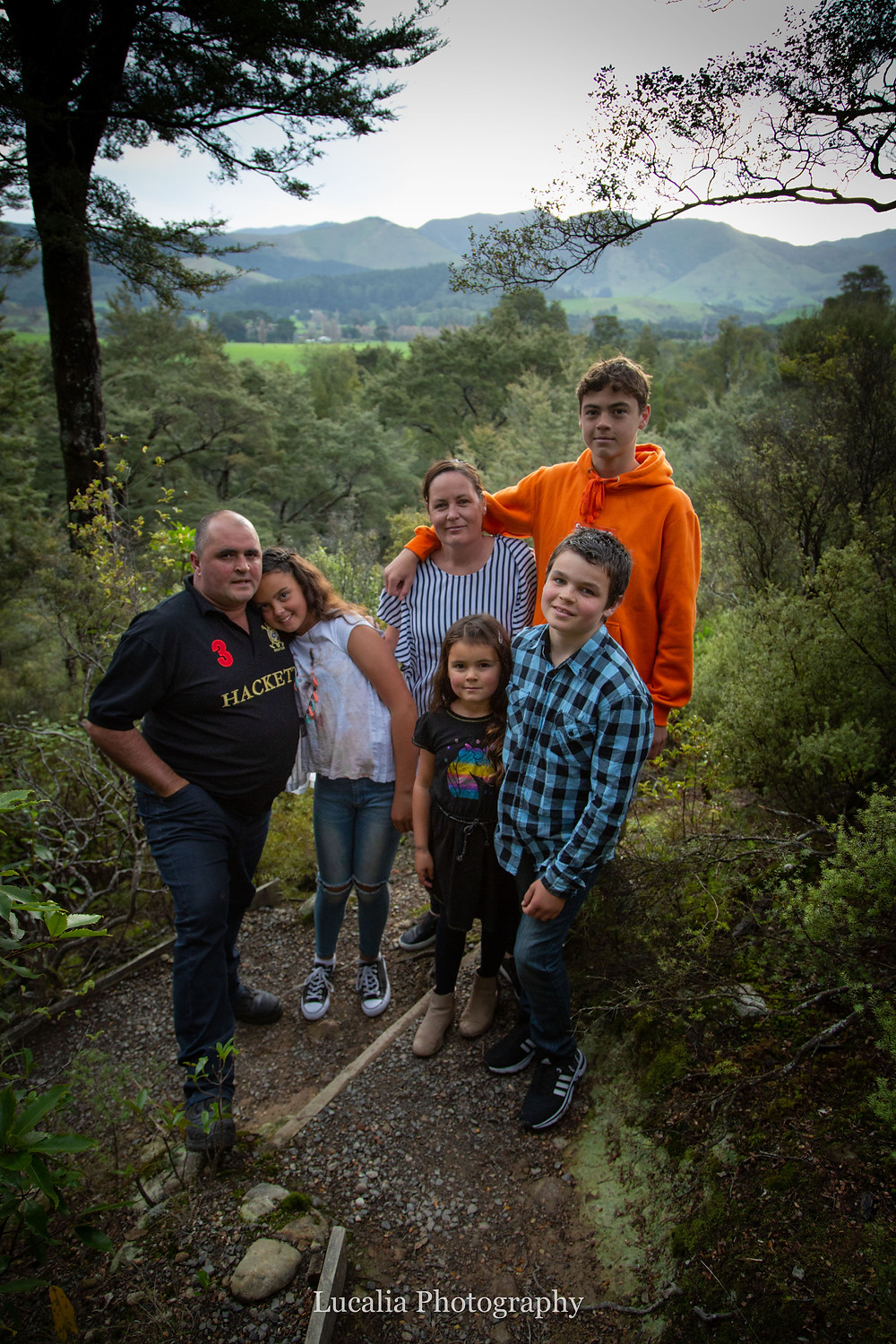 family photo with mountains in the background, Wairarapa family photographer