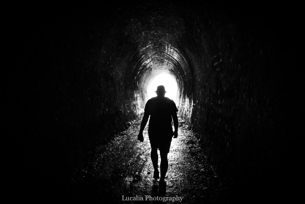 Walking through Summit Tunnel, Remutaka Incline, Wairarapa walk