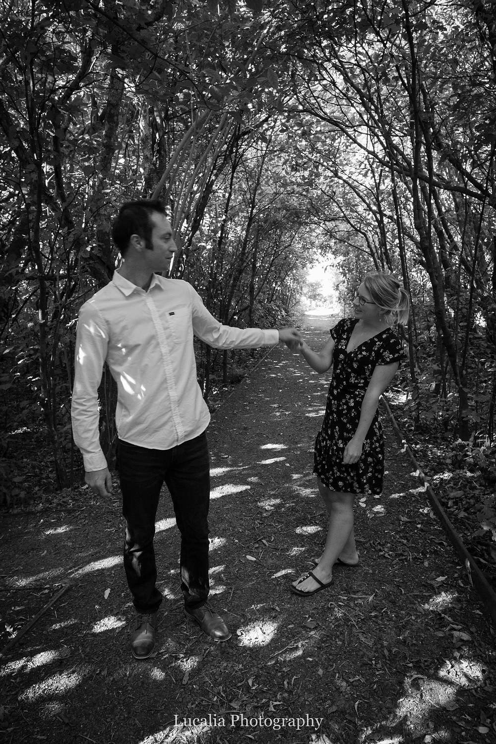 engaged couple dancing in the forest, Zealandia, Wellington